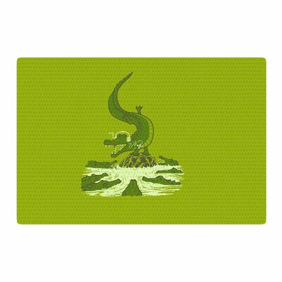 BarmalisiRTB Breakdance Crocodile Green/Beige Area Rug Rug Size: 2' x 3'