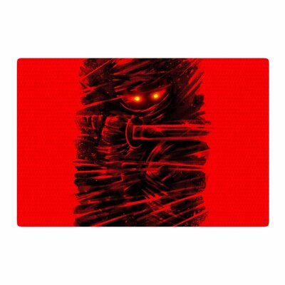 BarmalisiRTB Dark Ninja Black/Red Area Rug Rug Size: 2 x 3