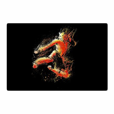 BarmalisiRTB Strong Fighter Orange/Black Area Rug Rug Size: 2 x 3