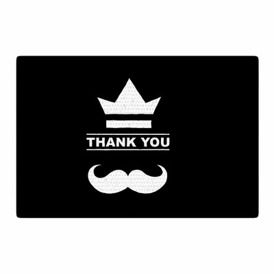 BarmalisiRTB Thank You Black/White Area Rug Rug Size: 2 x 3