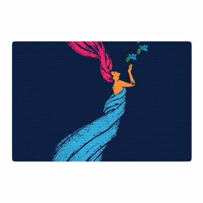 BarmalisiRTB Welcomes Peace Illustration Blue Area Rug Rug Size: 4 x 6
