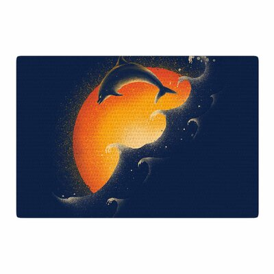 Barmalisirtb Welcomes Sunrise Blue/Orange Area Rug Rug Size: 2 x 3