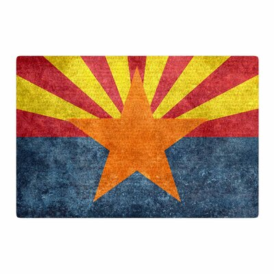 Bruce Stanfield Arizona State Flag Retro Style Orange/Blue Area Rug Rug Size: 2 x 3