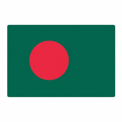 Bruce Stanfield Flag of Bangladesh Digital Green/Red Area Rug Rug Size: 2 x 3