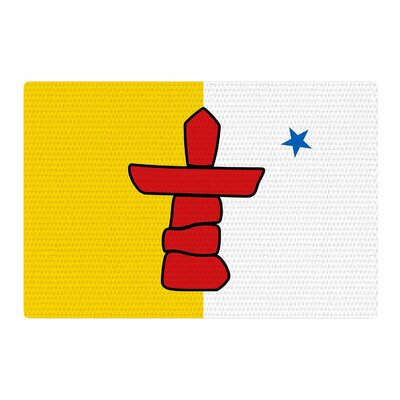 Bruce Stanfield Flag of Nunavut Tribal Yellow/White/Red Area Rug Rug Size: 2 x 3