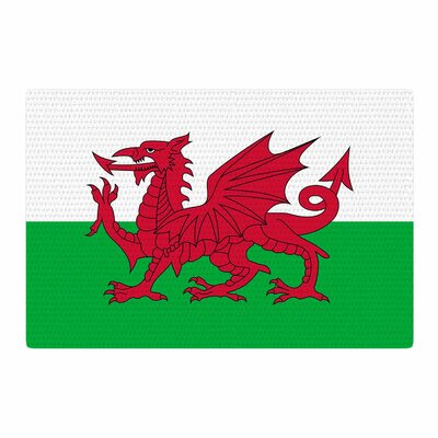 Bruce Stanfield Flag of Wales Authentic Fantasy Illustration White/Green/Red Area Rug Rug Size: 2 x 3