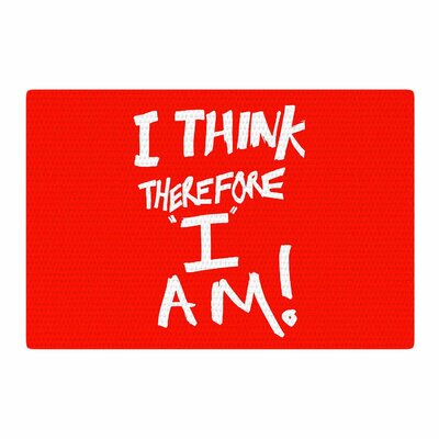 Bruce Stanfield I Think, Therefore I Am Red Typography White Area Rug Rug Size: 2 x 3