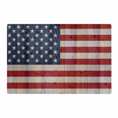 Bruce Stanfield USA Flag on Spruce Blue/Red Area Rug Rug Size: 4 x 6
