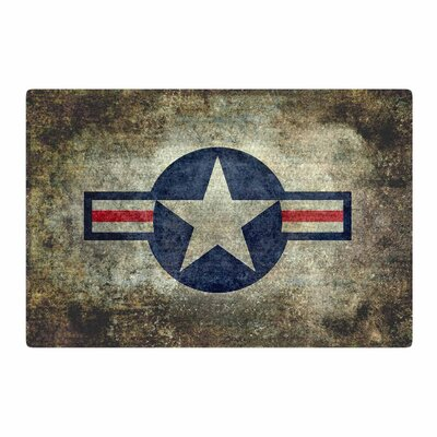 Bruce Stanfield USAF Vintage Retro Style Round Digital Yellow/Blue Area Rug Rug Size: 2 x 3