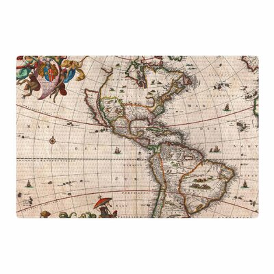 Bruce Stanfield Vintage Map of the Americas Brown/Green Area Rug Rug Size: 2 x 3