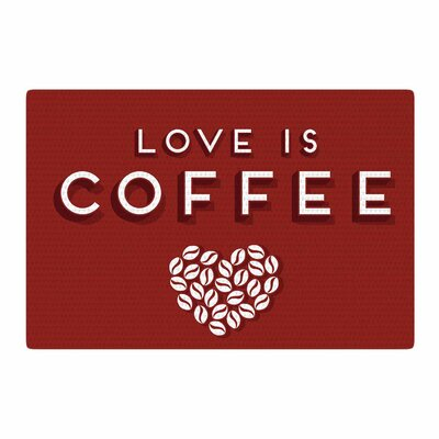 Busy Bree Coffee Love Typograph Brown Area Rug Rug Size: 4 x 6