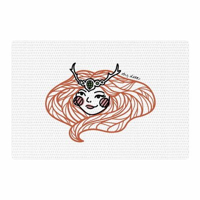 Busy Bree Oh, Deer Illustration Red Area Rug Rug Size: 4 x 6