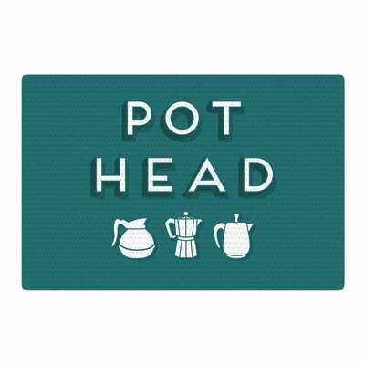 Busy Bree Pot Head Digital Teal Area Rug Rug Size: 2 x 3