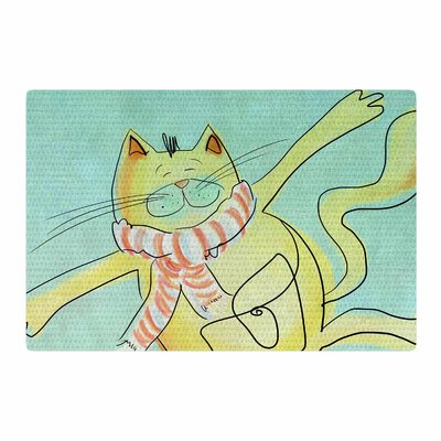 Carina Povarchik Dancing Cat Blue/Yellow Area Rug Rug Size: 4 x 6