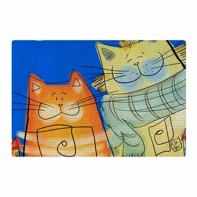 Carina Povarchik Happy Cats Blue/Orange Area Rug Rug Size: 2 x 3