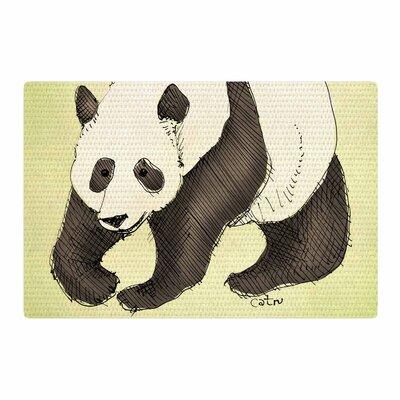 Carina Povarchik Happy Panda Animals Black Area Rug Rug Size: 4 x 6