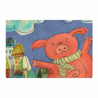 Carina Povarchik Happy Urban Pig Pink/Blue Area Rug Rug Size: 4 x 6