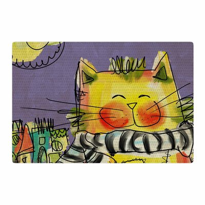 Carina Povarchik Urban Cat With Scarf Illustration Yellow Area Rug Rug Size: 4 x 6