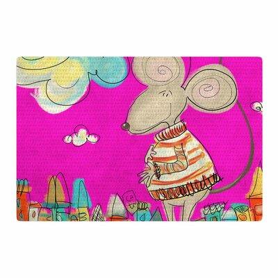 Carina Povarchik Urban Mouse Magenta Pink/Yellow Area Rug Rug Size: 2 x 3