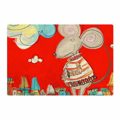 Carina Povarchik Urban Mouse Red Teal/Yellow Area Rug Rug Size: 4 x 6
