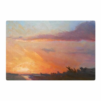 Carol Schiff Golden Hour Over the Marsh Watercolor Orange Area Rug Rug Size: 2 x 3