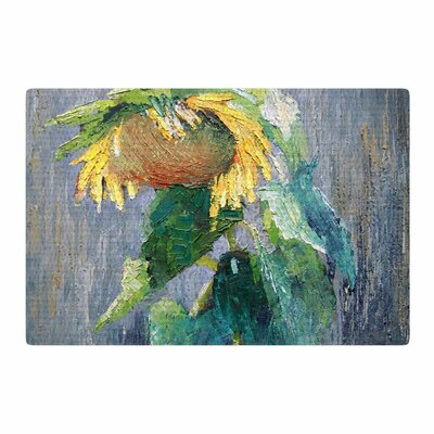 Carol Schiff Lonely Sunflower Yellow/Nature Area Rug Rug Size: 4 x 6