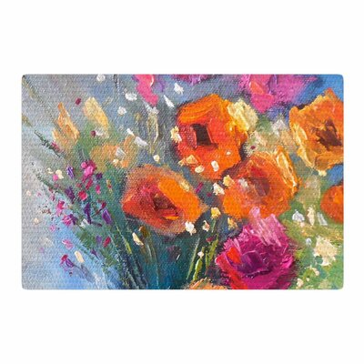 Carol Schiff Roadside Bouquet Orange/Blue Area Rug Rug Size: 2 x 3
