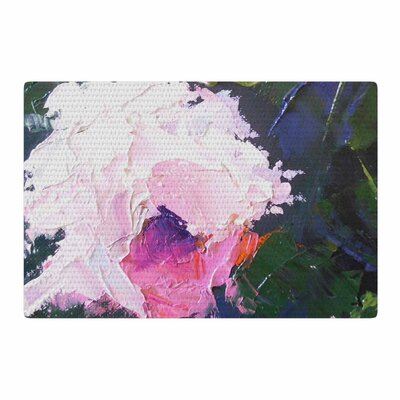 Carol Schiff Textured Pink Rose Painting Green Area Rug Rug Size: 2 x 3