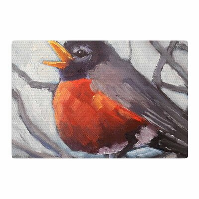 Carol Schiff Winter Robin Gray/Red Area Rug Rug Size: 2 x 3