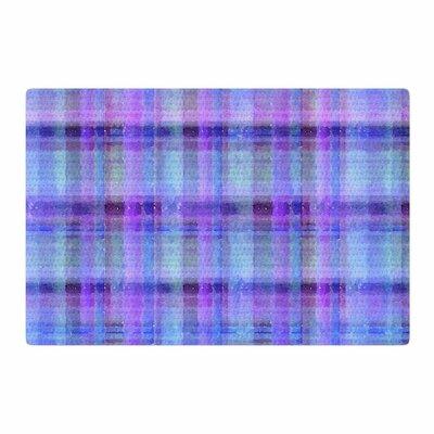 Carolyn Greifeld Watercolor Blue Plaid Pattern Purple Area Rug Rug Size: 4 x 6