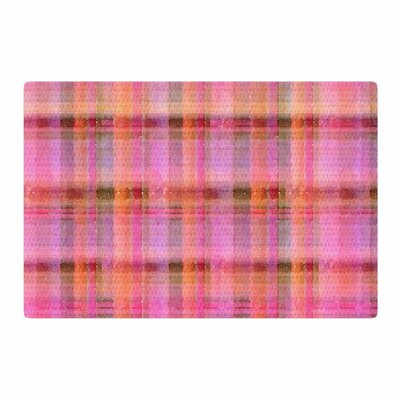 Carolyn Greifeld Watercolor Pink Plaid Pattern Yellow Area Rug Rug Size: 4 x 6