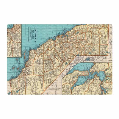 Catherine Holcombe So Cal Surf Map Beige/Blue Area Rug Rug Size: 2 x 3