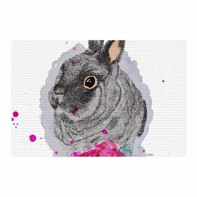 Cecibd BunnyRose Animals Painting White/Gray Area Rug Rug Size: 4 x 6
