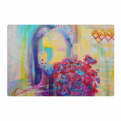 Cecibd Girl With Plants III Abstract Painting Yellow/Red Area Rug Rug Size: 2 x 3