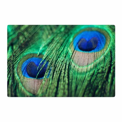 Chelsea Victoria Peacock Feathers Blue/Green Area Rug Rug Size: 2 x 3