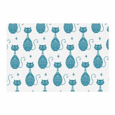 Cristina Bianco Design Cat Pattern Animal Blue/White Area Rug Rug Size: 2 x 3