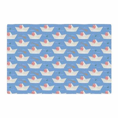 Cristina Bianco Design Paper Cat Pattern Coral/Blue Area Rug Rug Size: 4 x 6