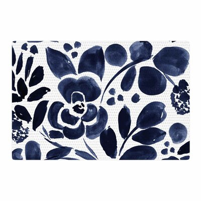 Crystal Walen Watercolor Floral Painting Navy Area Rug