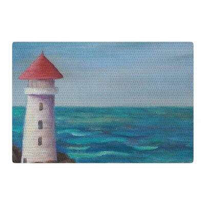 Cyndi Steen the Lighthouse Rocks Painting Blue Area Rug Rug Size: 2 x 3