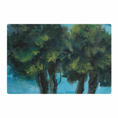 Cyndi Steen Twin Palms Blue/Green Area Rug Rug Size: 2 x 3