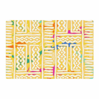 Dan Sekanwagi Lines And Zigzags Colorful Tribal Yellow Area Rug Rug Size: 2 x 3