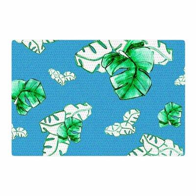 Danii Pollehn Palmtree Green/Blue Area Rug Rug Size: 2' x 3'