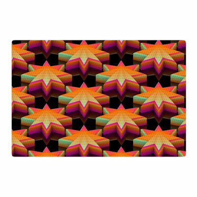 Danny Ivan Stars Pattern Black/Orange Area Rug Rug Size: 4 x 6