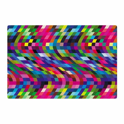 Dawid Roc Colorful Geometric Movement 1 Abstract Blue/Pink Area Rug Rug Size: 2 x 3