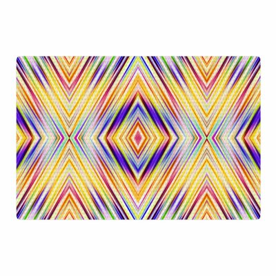 Dawid Roc Colorful Tribal Ethnic Ikat Pattern Yellow Area Rug Rug Size: 2 x 3