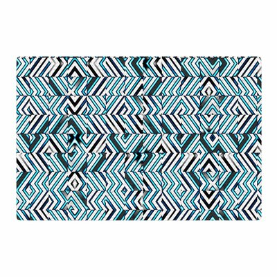 Dawid Roc Maze Geometric Abstract 2 Pattern Teal Area Rug Rug Size: 4 x 6