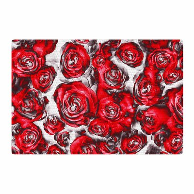 Dawid Roc Roses Floral Abstract Red Area Rug Rug Size: 2 x 3