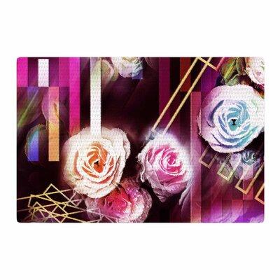 Dawid Roc Roses Floral Geometric Stripes Pink/Blue Area Rug Rug Size: 4 x 6