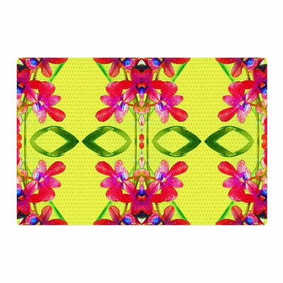 Dawid Roc Tropical Floral Orchids 1 Yellow/Red Area Rug Rug Size: 2 x 3