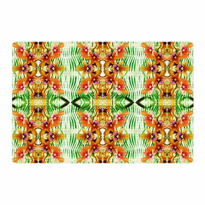 Dawid Roc Tropical Flowers Palm Leaves Pattern Yellow Area Rug Rug Size: 4 x 6